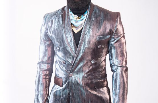 Israel Dia Custom double breasted shiny silver blazer suit
